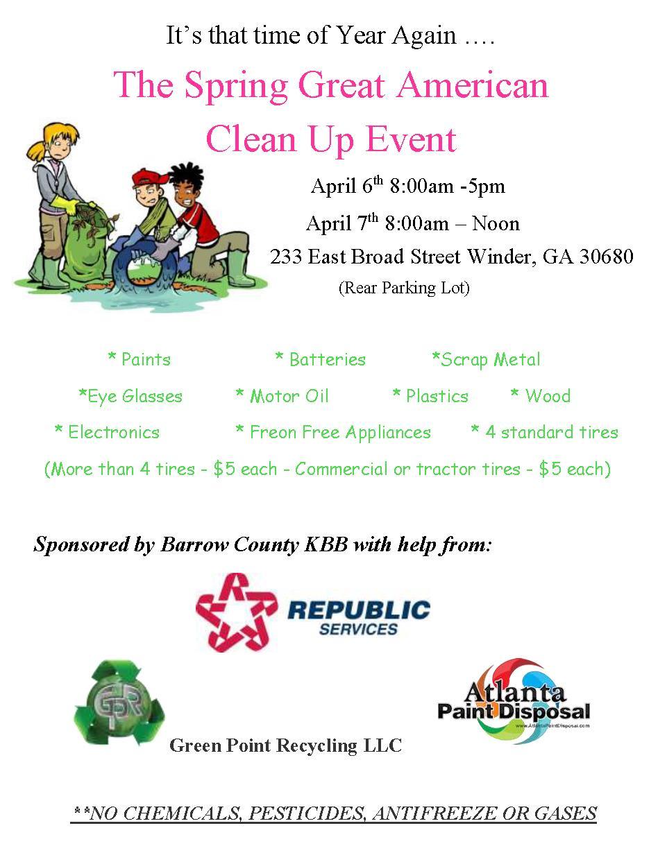 Great American Clean Up | Calendar | Winder, GA