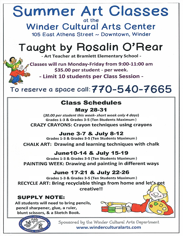2013 Summer Art Classes