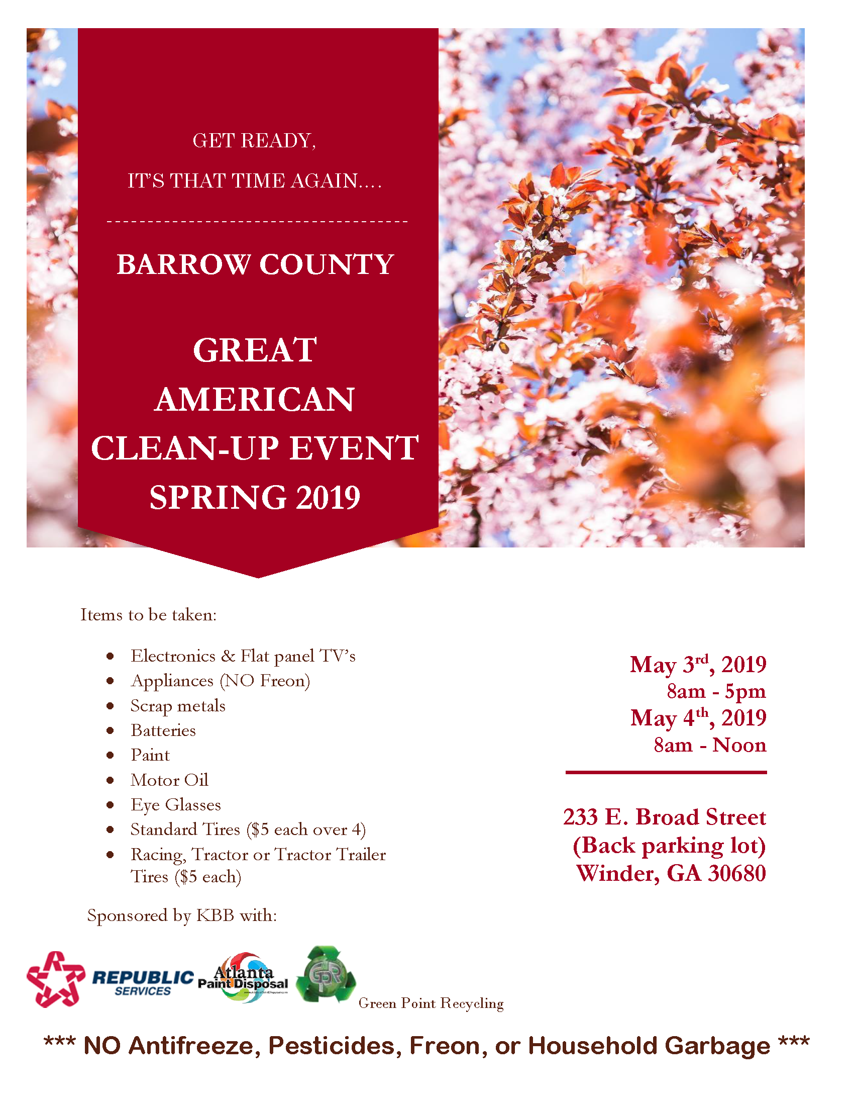 2019 Spring Clean Up Flyer